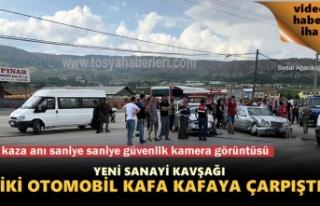 Tosya Yeni Sanayi Kavşağında iki otomobil kafa...
