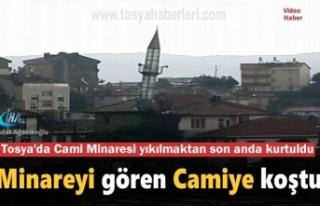Tosya'da Cami Minaresi Eğilerek Yıkılma Tehlikesi...