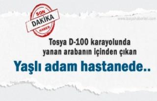 Tosya'da Trafik Kazasında Yanan Otomobilin içinden...
