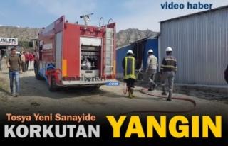 Tosya Yeni Sanayi Sitesinde Korkutan Yangın