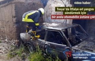 Tosya'da Park Halinde Otomobil Yandı
