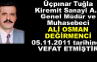 Muhasebeci Ali Osman Değirmenci VEFAT etti..