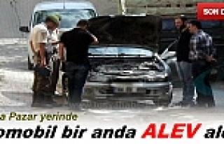 SEYİR HALİNDEKİ ARAÇ BİR ANDA ALEV ALDI