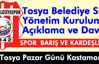 Tosya Belediyespor Yönetim Kurulundan Açıklama...