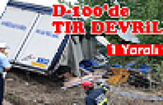 Tosya D100'de TIR Devrildi 1 Yaralı Var