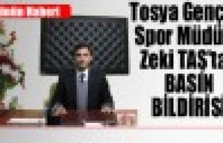 Tosya Gençlik Spor Müdürü Zeki Taş Basın Bildirisi...