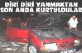 Tosya'da Araba Yangını Ucuz Atlatıldı