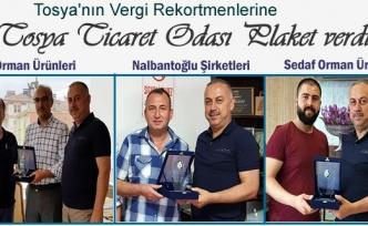 Tosya Vergi Rekortmenlerine Plaket Verildi