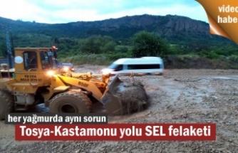 TOSYA -KASTAMONU YOLU HEYELAN VE SELDEN TAMAMEN TRAFİĞE KAPANDI