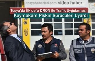Tosya D-100'de Dron ile Trafik Uygulaması ( VİDEO HABER )