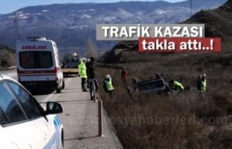 Tosya D-100 Karayolunda Otomobil Takla Attı