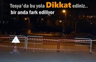Tosya'da Okul Yolundaki Çalışmaya Sürücüler Dikkat Ediniz