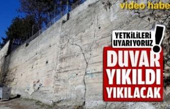 Tosya'da Eğitim Kurumunu Bahçe İstinat Duvarında Yıkılma Tehlikesi