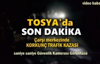 Tosya'da Korkunç Trafik Kazası Saniye Saniye Güvenlik Kamerası Görüntüsü
