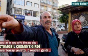 Tosya'da Şaka Gibi Trafik Kazası ''Otomobil Çeşmeye Girdi''