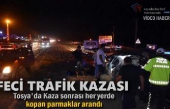Tosya'da Trafik Kazası sonrası kopan Parmak Arandı