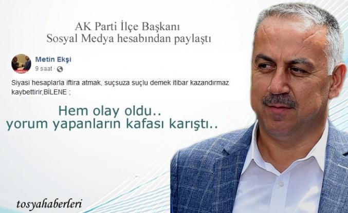 AK Parti İlçe Başkanı Sosyal Medya Hesabında Duyurdu