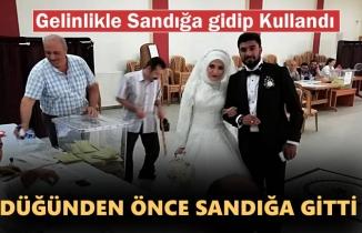 Tosya'da Yeni Evli Çift Gelinlikle Oy Kullandı