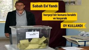 Tosya'da Sabah Evi Yandı öğlen Oy Kullandı