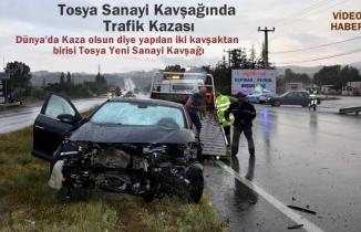 Tosya'da Yeni Sanayi Kavşağında Trafik Kazası