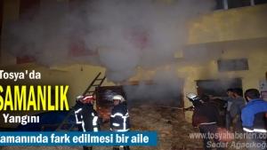 Tosya'da Samanlık Yangınında bir aile Ölümden döndü