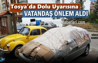 Tosya'da Şiddetli Dolu ve Yağış Uyarısına karşı vatandaşlardan ilginç tedbir