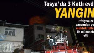 Tosya'da 3 katlı evde yangın