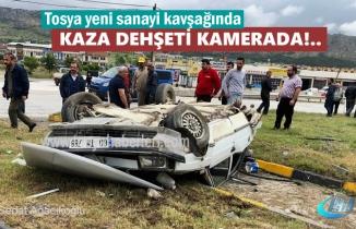 Tosya'da 3 Kişini yaralandığı Trafik Kazası Güvenlik Görüntüleri