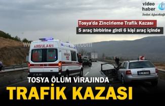 Tosya'da 5 aracın karıştığı Zincirleme Trafik Kazasında 6 kişi yaralandı
