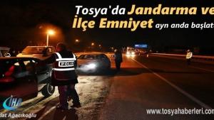 Tosya'da Jandarma ve Polis 'den aynı anda Huzur Operasyonu