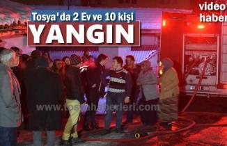 Tosya'da 10 Kişinin Yaşadığı Evde Yangın