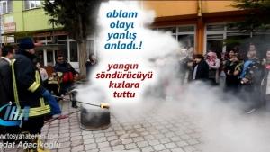 Tosya'da Yangın Tatbikatında yangın tüpünü öğrencilerin üzerine tuttu