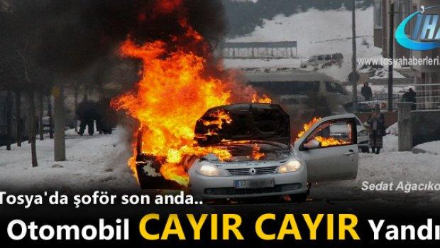 Tosya'da otomobil cayır cayır yandı