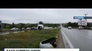 Tosya'da 3 kişinin öldüğü kazanın Güvenlik Kamerası Görüntüleri
