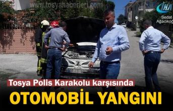 Tosya Polis Karakolu Karşısı Otomobil Yangını