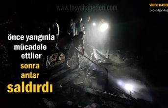 Tosya'da çıkan yangında çok sayıda Arı Kovanı ve Ev yandı