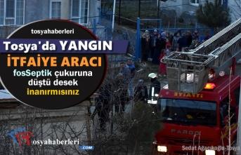 Tosya'da Yangına Müdahale etmek İsteyen İtfaiye Aracı Fosseptik Çukuruna Düştü