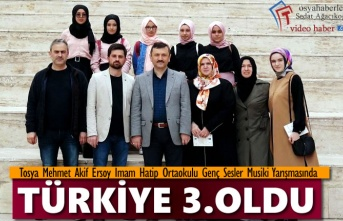 Tosya Mehmet Akif Ersoy İmam Hatip Ortaokulu Musiki Grubu Türkiye 3. Oldu