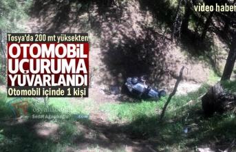 Tosya'da Otomobil 100 metre Uçuruma yuvarlandı