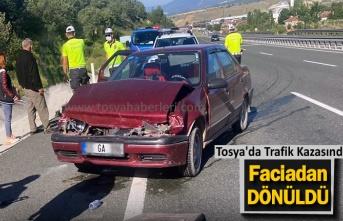 Tosya'da Trafik Kazasında Faciadan Dönüldü