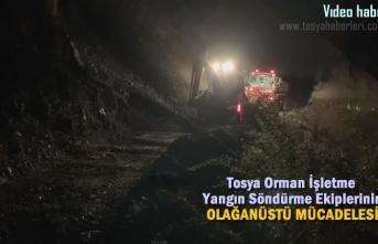 TOSYA ORMAN İŞLETME EKİPLERİ GECE YARISI YANGINI SÖNDÜRDÜ