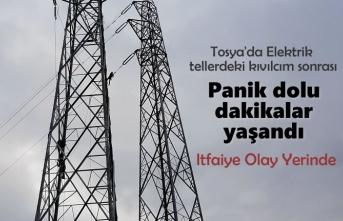 Tosya'da Elektrik Tellerindeki Kıvılcım Paniğe Neden Oldu
