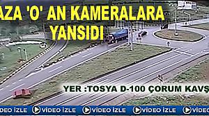 Tosya D-100'de Trafik Kazası Kameralara Yansıdı