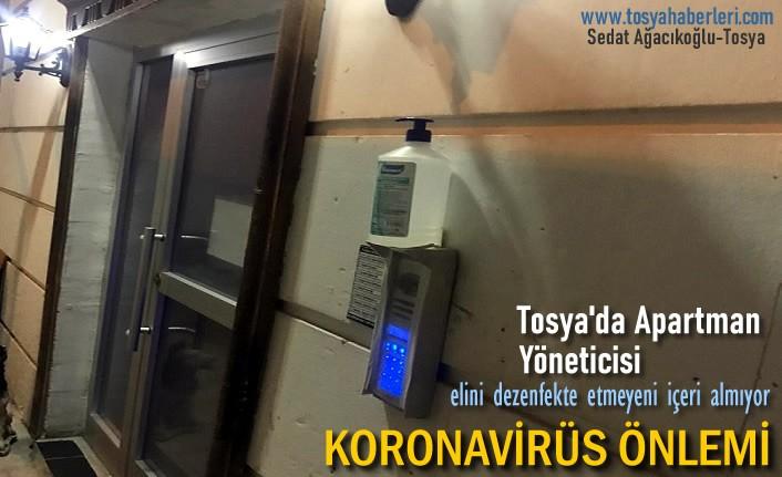 Tosya'da Apartman Yöneticisinden Koronavirüse Karşı Tedbir