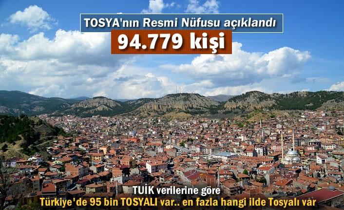 Tosya'nın Nüfusu  Resmi Rakamlara göre 95 Bin