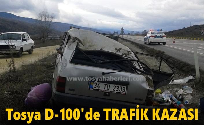 Tosya D100'de Otomobil Takla Attı