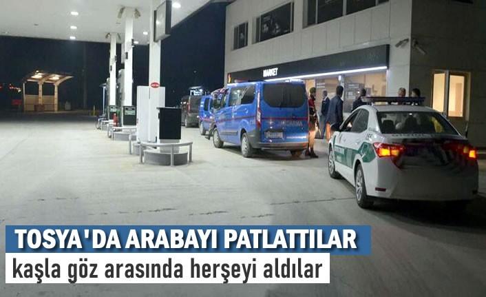 TOSYA'DA HIRSIZLAR ARABAYI PATLATTI