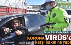 Tosya Polis Noktasında Koronavirüse karşı ilginç tedbir