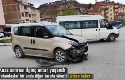 Tosya Eski Sanayi Kavşağında İlginç Trafik Kazası