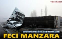 TOSYA D100'DE ZİNCİRLEME TRAFİK KAZASI